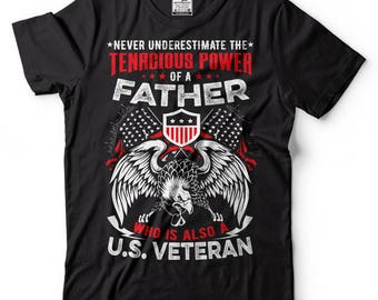 US Veteran Father T-Shirt Father's Day Gift Tee Shirt