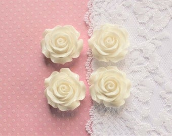 4 Pcs Large White Intricate Flower Cabochons - 30x30mm