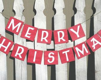 """Merry Christmas Banner 4"""" x 4"""" Tiles Banner Christmas Holiday Wall Decor Banner"""