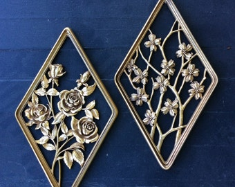 Vintage Gold Diamond, Syroco, Rose & Dogwood, Wall Plaques, Set of 2, ShabbyChic, Hollywood Regency, French Country, Mid Century