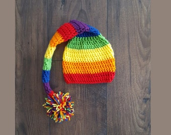 Rainbow baby hat, crochet rainbow hat, baby hat, baby shower gift, baby gift, newborn photo prop, rainbow elf hat with pom, baby gift