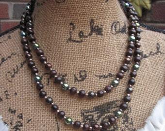 Long beaded necklace 108 bead mala mens mala women's prayer beads brown bronze, iris green double strand extra long necklace tassel necklace