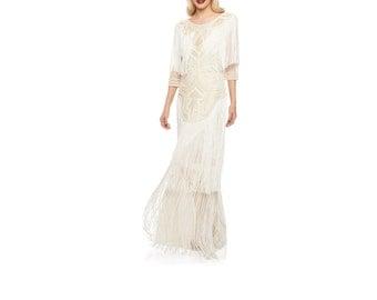 US4 UK8 AUS8 EU36 Wedding Gown Cream Glam Prom Maxi Dress with Sleeves 20s Great Gatsby Downton Abbey Bridal Shower Beach Wedding Reception