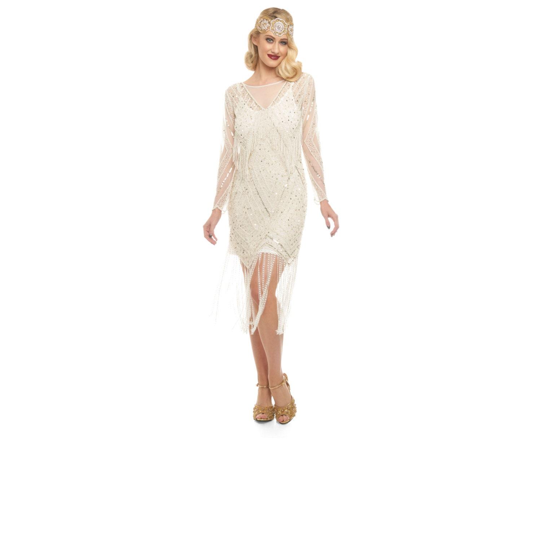 ce8ce4a7aef US4 UK8 AUS8 EU36 Betty Ivory Gold Fringe Dress with Sleeves Slip ...