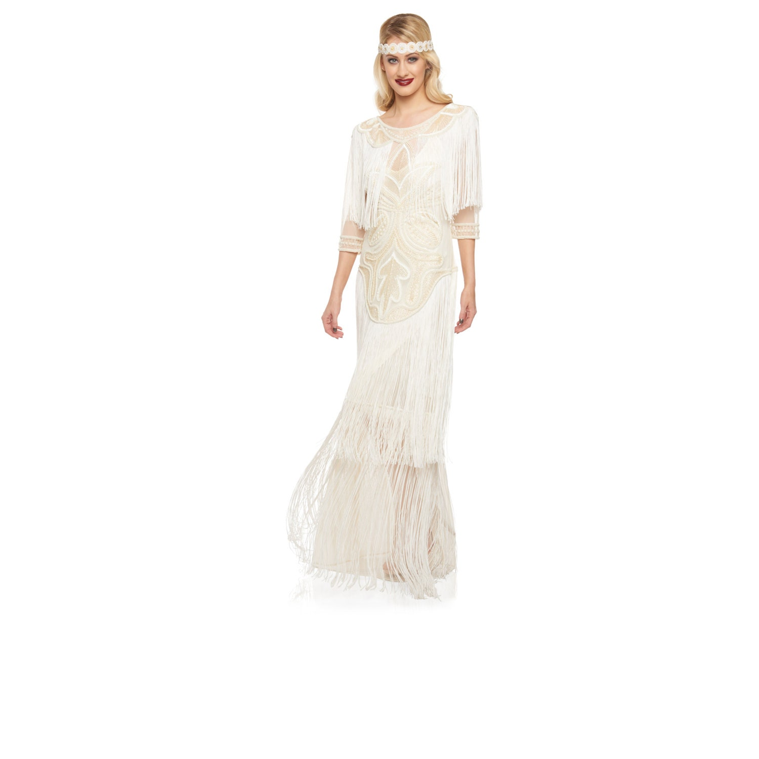 Wedding Gown Cream Glam Prom Maxi Dress With Sleeves 20s