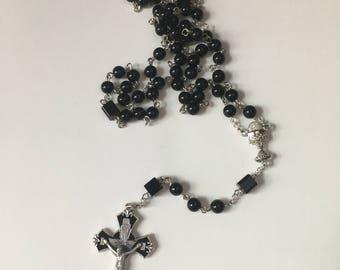 Boys Black Catholic First Communion Rosary