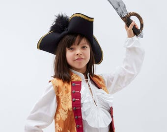 Childrens Tricorn  | Kids Pirate Hat | Captain Hooks Hat | Jack Sparrow | Swashbuckler | Black Wool Felt Hat with ostrich feathers and trim