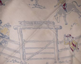 Vintage 50's Simtex Cowboy western tablecloth rodeo riders & branding iron center~rare pattern~Free ship