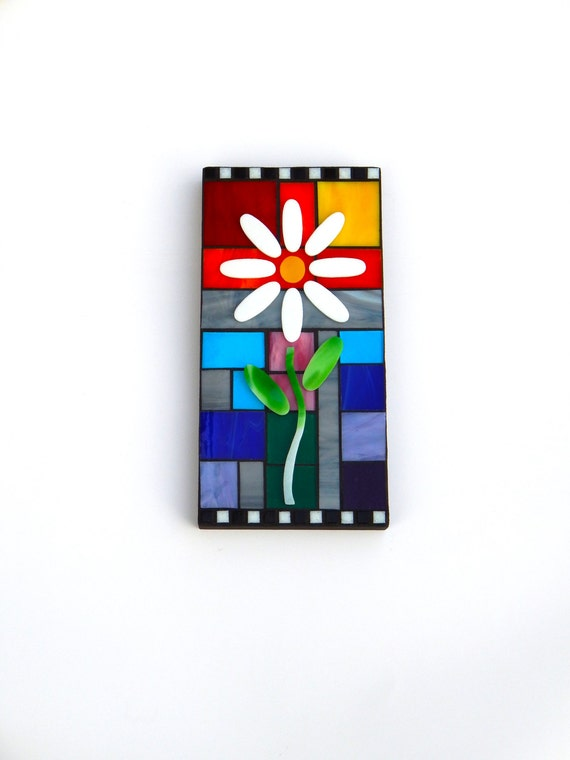 "Mosaic Art Wall Panel, ""Bloom"", 12"" x 6"", Original 3D Floral + Rainbow Stained Glass Mosaic Hanging Wall Art"