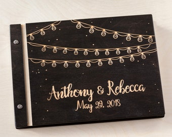 Wedding Guest Book, Lights Night Stars, Lights, Night Sky, Guest Book, Custom Guest Book, Wedding Guestbook, Rustic Guest Book, Wedding Gift
