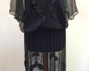 1920s black beaded dress