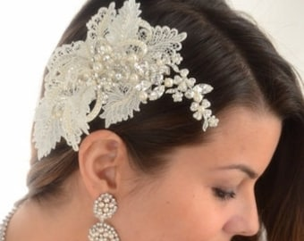 FREE SHIPPING, side bridal comb,  ivory pearl wedding comb, wedding comb, wedding hair clip, bridal hair clip, pearl lace hair comb