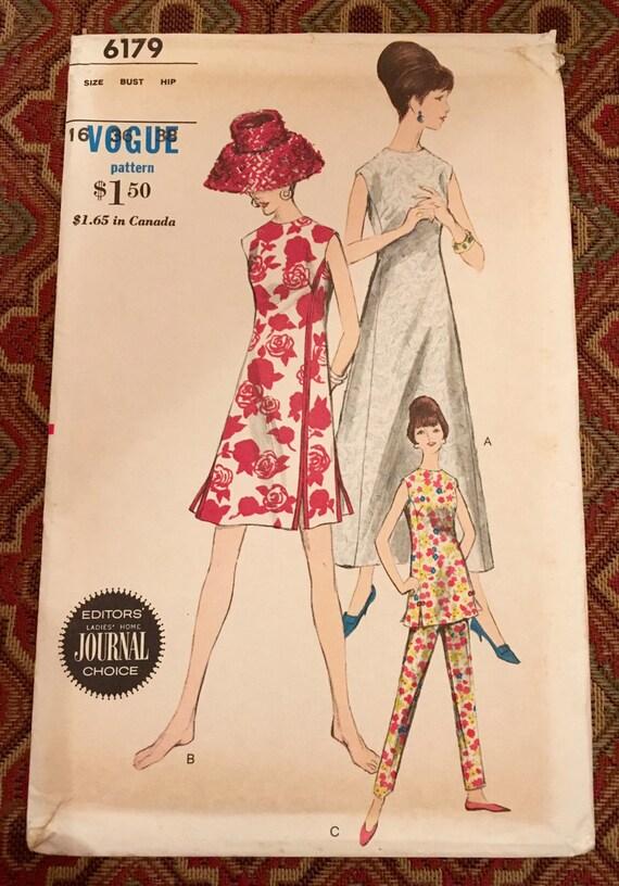 Vogue 6179 - Dress, Tunic & Pants, Size 16, Factory-folded sewing pattern