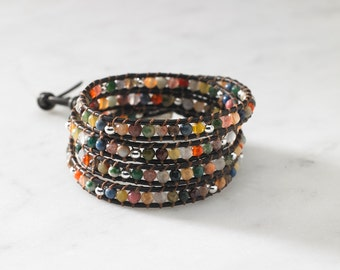 Multigemstone 4 Wrap Bracelet