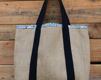 Burlap Tote Bag - Coffee Sack Bag - Jute Tote - Large Purse - Market Bag - Upcycled Tote Bag - Shoulder Bag - Coffee Lovers Bag - Book Bag