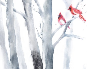 Birch Tree Painting, Birch Art Watercolor Painting Print, Tree Artwork, Gray Art, Gray Painting, Bird on the tree, Cardinal, Forest Painting