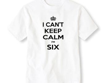 6th Birthday, Boy's 6th Birthday Shirt, I Can't Keep Calm I'm Six Birthday Shirt, Sixth Birthday