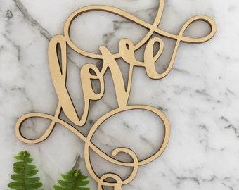 Love Swirl Rustic Wood Wedding Cake Topper