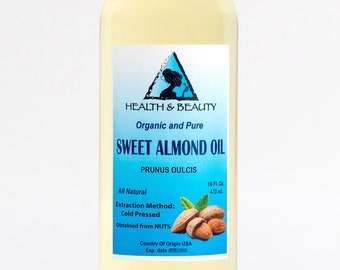 16 oz SWEET ALMOND OIL Organic Carrier Cold Pressed 100% Pure