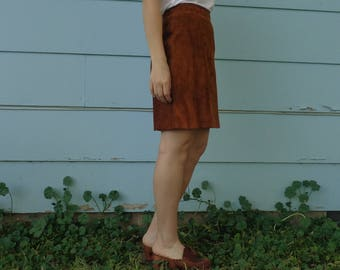 1970s Vintage Suede Brown Leather Mini Skirt Womens Size Small