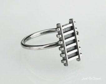 Train Tracks Ring Solid 925 Sterling Silver Railroad Ring Custom Sizes