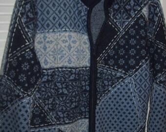 Vintage Talbot's 100% Wool Sweater Jacket - Size Large - Winter Warmy !