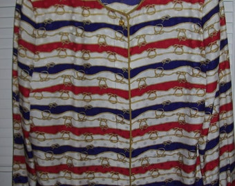 Vintage Maggy London 100% Silk Nautical Over-Blouse Size Large see details