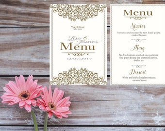 Printed Wedding Menu/Wedding Day Menu/Personalised Wedding Menu/Wedding Breakfast Menu/Personalised Wedding/Printed Menu