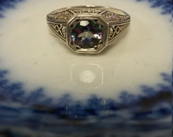 Size 6.5 Estate Silver Sterling 925 1ct Mystic Alexandrite Topazd Antique Ring Band Filigree Heart to Heart