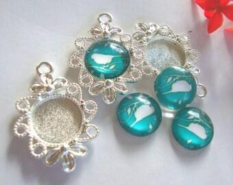 Flower Jewelry Base,5pcs,Cabochon Base,Cameo Base,12mm