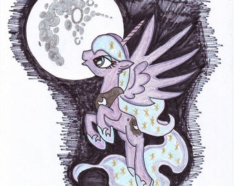 Full Moon - A4 sketch.  (Princess Luna MLP - My Little Pony )