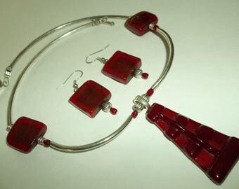 Statement Necklace Set   DECO Style RED Glass Silver Necklace set