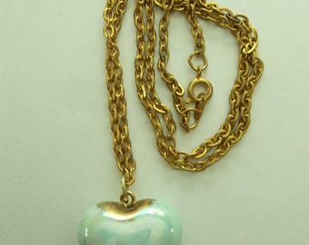 Opaque Baby Blue Gold PUFFY Heart  Pendant Chain
