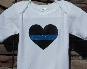 Thin Blue Line Heart Onesie/Kid Shirt