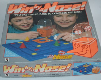 Vintage Complete Win By a Nose Board Game from Pressman 1988