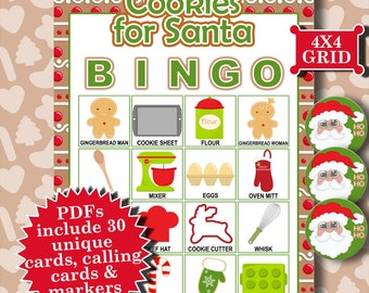 Cookies for Santa 4x4 Bingo printable PDFs contain everything you need to play Bingo.