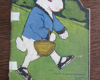 Antique Vintage Peter Rabbit Book By Beatrix Potter/ 1927 Saalfield Publishing Company/ Collectible/Easter/ Paperback Book   Children's Book