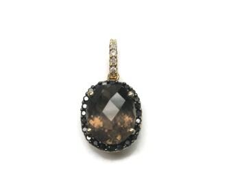 Vintage 14K Smoky Topaz Black Diamond Pendant