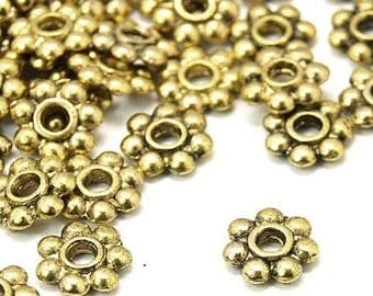 Gold Spacer Beads, Gold Daisy Spacers, Daisy Spacer Beads, Gold Spacers, Metal Beads, Bead Spacers, Jewelry Findings, Gold Findings, Spacers