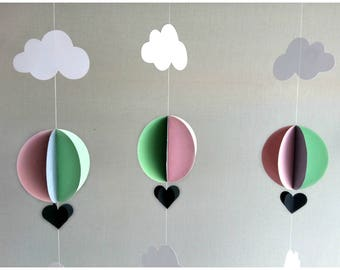 3 Hot Air Balloon Garland - Pink Grey Mint Green - Baby Shower Decor - Up Up and Away - Baby Shower Garland - Nursery Decor - Birthday Party
