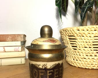 Coffee Canister // Brass / Enamel / Floral