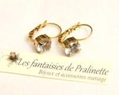 Boucles d'oreilles dormeuses solitaires style ancien cristal transparent, mariage mariées soirée témoins, Bridal bridesmaid crystal earrings