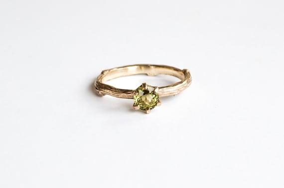 Green tourmaline 14k gold twig engagement ring, 14k gold nature twig engagement ring,