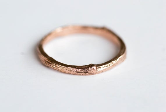 14k gold twig wedding band, 14k gold matching twig nature band