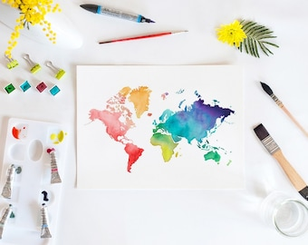 Watercolor world map print. Wall art. Travel. Rainbow. illustration. Home decor. Watercolor print. Watercolor art