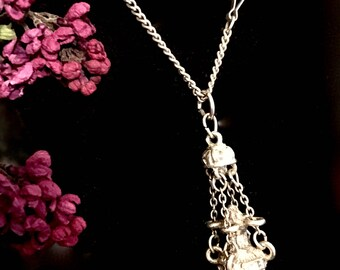 Vintage censer botafumeiro thurible silver plated suspended from chains (via Old French from Medieval) pendant necklace