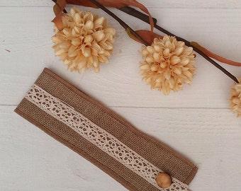 Tie Backs - Curtain Tie Backs with Crochet Lace - Burlap Drape Tie Backs - Rustic Home Decor - Hessian Tie Backs - Set of 2