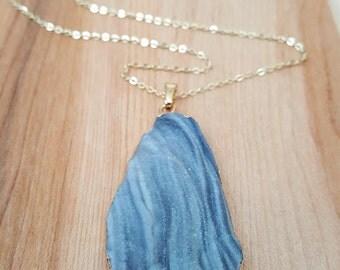 Blue Galaxy Druzy Pendant Necklace 14K Gold Filled Chain // Boho Jewelry // Boho Luxe // Boho Necklace // Galaxy Druzy // Long Necklace