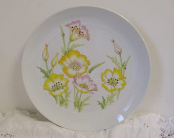 """12"""" Flower Platter by Jessica Fine China Japan - Jessica Toscany Chop Plate Bright Floral Serving Platter Shabby Chic Farmhouse Flower Power"""