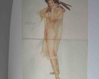 Original Vargas Girl 2 Page Pin-Up August 1971 Vintage Playboy Magazine